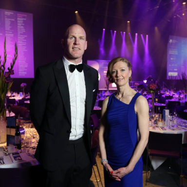 Press Eye - Belfast - Northern Ireland - 4th May 2016 - Picture by Kelvin Boyes  / Press Eye.  Claire Reid, 4c with Paul O'Connell pictured at the Northern Ireland Chamber of Commerce and Industry Champions Dinner at the newly extended Waterfront Hall in Belfast. It was the first external event to be held at the transformed venue and the largest event to be held by NI Chamber in its 233 year history with a sell-outÊbusiness audience of over 900 people.