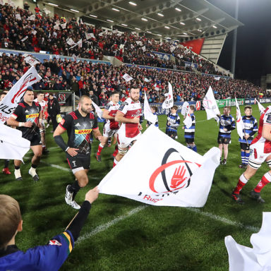 European Rugby Champions Cup Round 4, Kingspan Stadium, Belfast 15/12/2017 Ulster vs Harlequins The two teams come out to start the game Mandatory Credit ©INPHO/Tommy Dickson